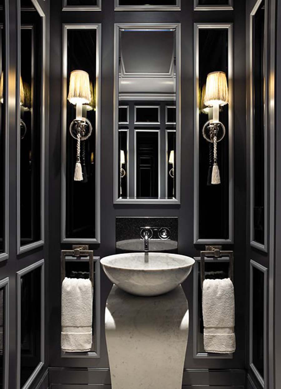 Stunning-Black-Bathroom-Design-Idea-with-Single-White-Stylish-Sink-Design-and-Wall-Mounted-Lamps-and-Double-White-Towel-also-Wall-Mounted-Mirror-and-Calm-Faucet